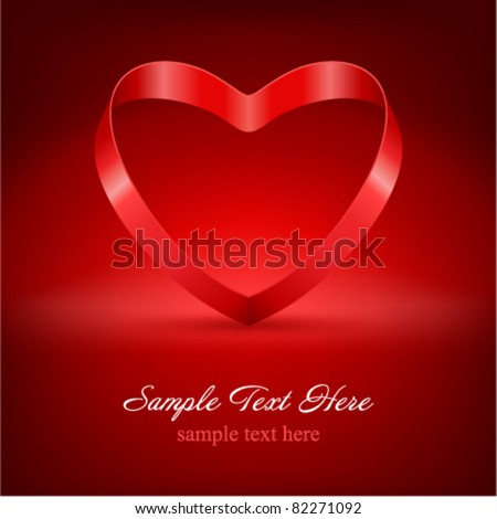 Heart from ribbon Valentine's day vector background eps 10 - stock vector