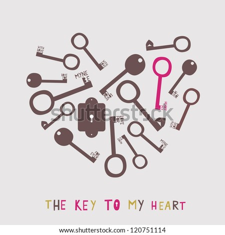 heart from the stylized keys - stock vector