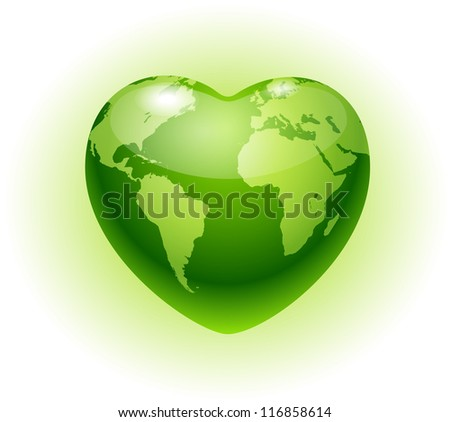 Heart globe.Eco icon - stock vector
