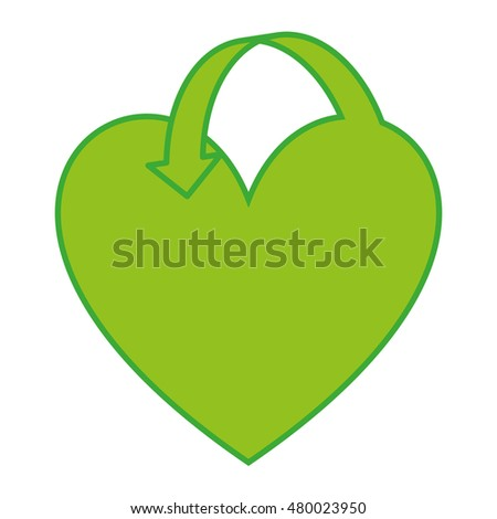 heart green ecology icon vector illustration design