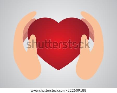 heart hand care - stock vector