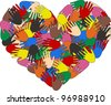 heart hand color ethnic love - stock photo