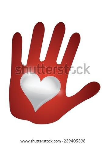 heart hand. illustration design over a white background - stock vector