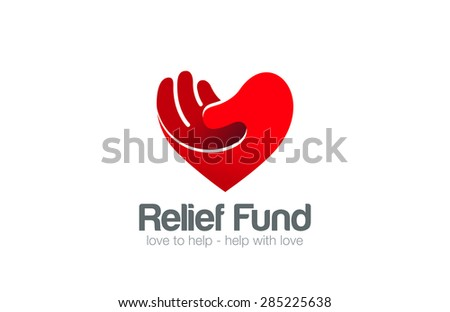 Heart Hand Logo Relief Fund vector design template. Take my Heart Love Valentine day concept Logotype icon. - stock vector