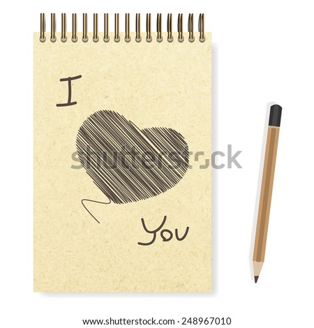 Heart hand painted blank realistic spiral notepad notebook and pencil vector - stock vector