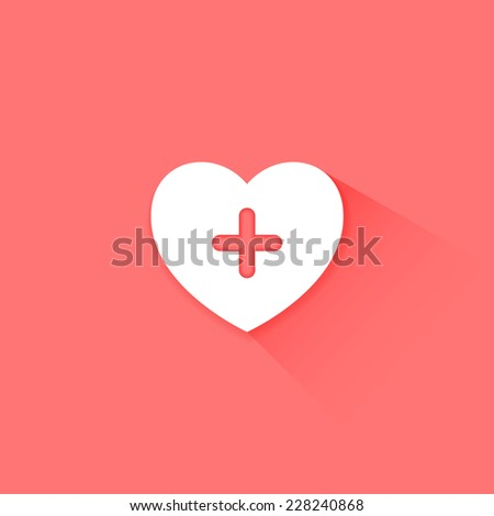 Heart health care pink icon flat long shadow - stock vector