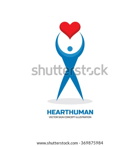 Heart human character - vector logo template creative illustration. I love you concept sign. Valentine's Day symbol. Cardiology icon. Healthy insignia. Design element.