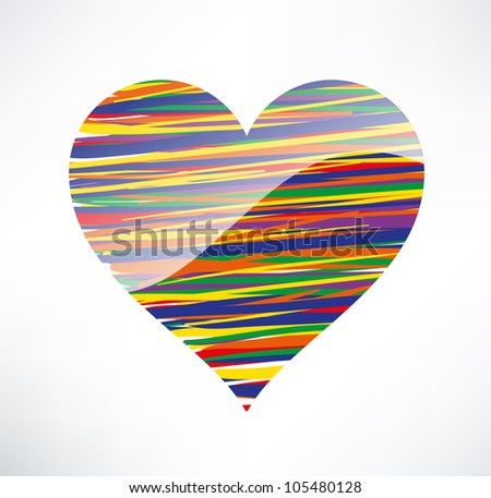 Heart  icon. Illustrated with colored stripes. The concept of love. - stock vector