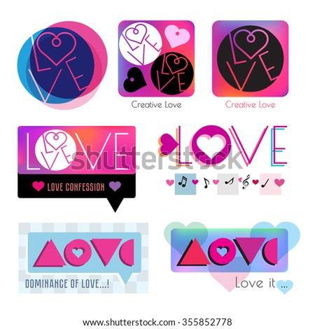 Heart icon logo. Love logo. Togetherness concept. Relations symbol. Card with heart template. Colored logo with heart. Valentine's day logo. Set lovers logo. Unity feeling logotype. Dating sign - stock vector