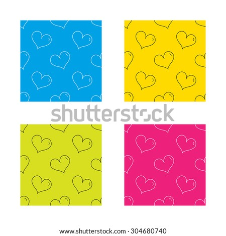 Heart icon. Love sign. Life symbol. Textures with icon. Seamless patterns set. Vector - stock vector