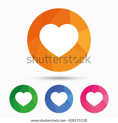 Heart icon. Love symbol. Triangular low poly button with flat sign. Vector - stock vector