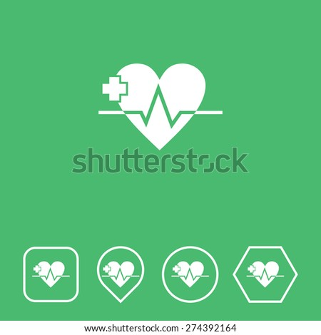 Heart Icon on Flat UI Colors with Different Shapes. Eps-10. - stock vector