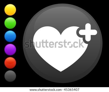 heart icon on round internet button original vector illustration 6 color versions included - stock vector