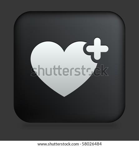 Heart Icon on Square Black Internet Button Original Illustration - stock vector