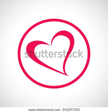 Heart icon. Pink flat symbol in a circle. Design element for Valentine's Day, wedding, baby shower, birthday card etc. Vector illustration. - stock vector