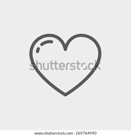 Heart icon thin line for web and mobile, modern minimalistic flat design. Vector dark grey icon on light grey background. - stock vector