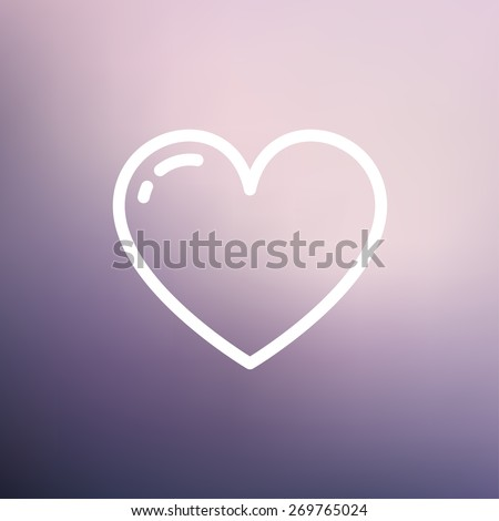 Heart icon thin line for web and mobile, modern minimalistic flat design. Vector white icon on gradient mesh background. - stock vector