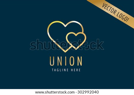 Heart Icon vector logo template. Love, health, doctor or relations, wedding, foundation, gold symbols. Stock design element - stock vector