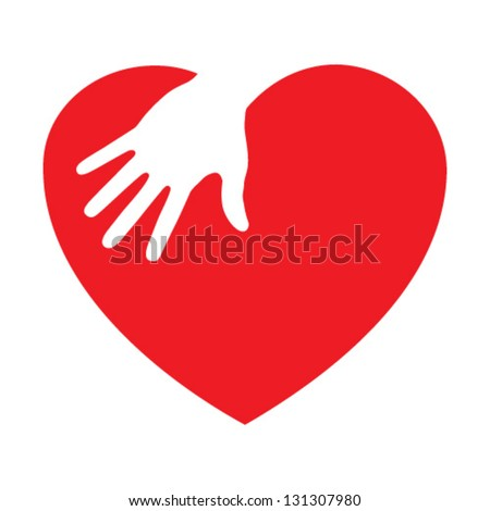 Heart icon with caring hand, vector illustration - stock vector
