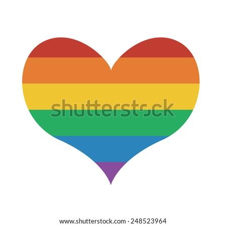 Heart icon with rainbow flag Valentine day symbol - stock vector