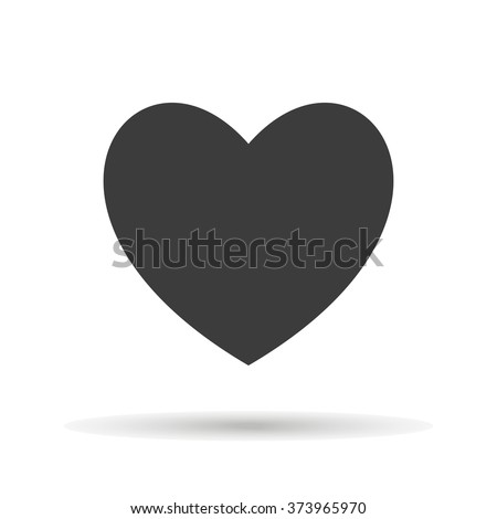 Heart Icon with shadow isolated on a white background, vector illustration for web design - stock vector