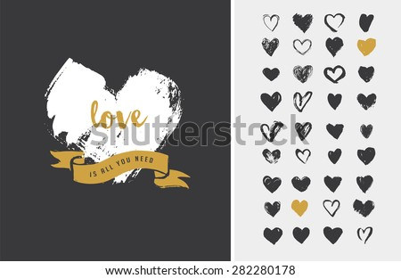 Heart Icons, hand drawn icons for valentines and wedding - stock vector