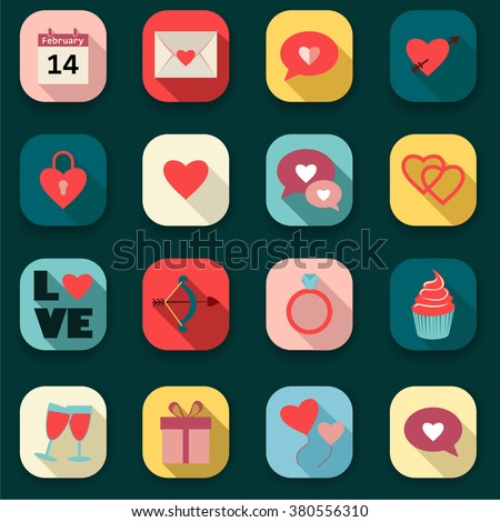 Heart Icons Set, ideal for valentines day  - stock vector