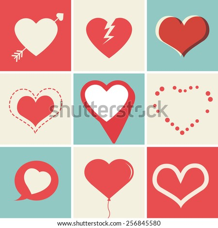 Heart Icons Set, ideal for valentines day and wedding - stock vector