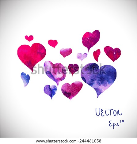 Heart Icons Set, ideal for valentines day and wedding. background.  valentines card design. watercolor vector  - stock vector