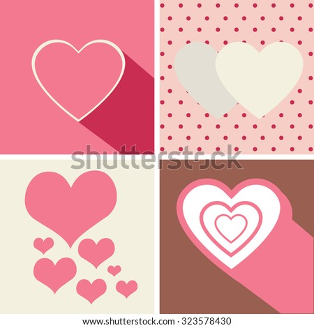 Heart Icons Set, ideal for valentines day and wedding. Vector Illustration.