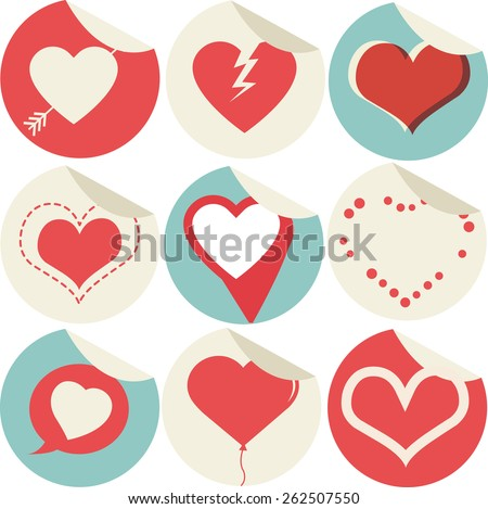 Heart Icons Set with sticker tag, ideal for valentines day and wedding - stock vector