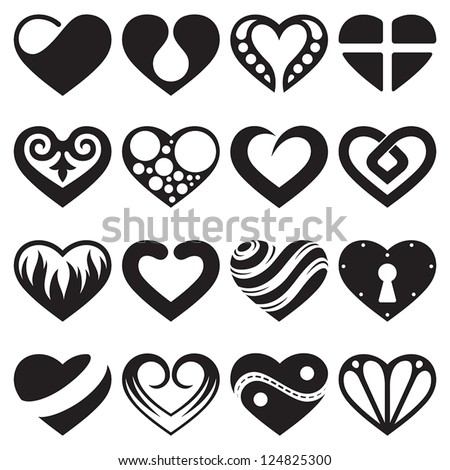 heart icons, signs and symbols set - stock vector