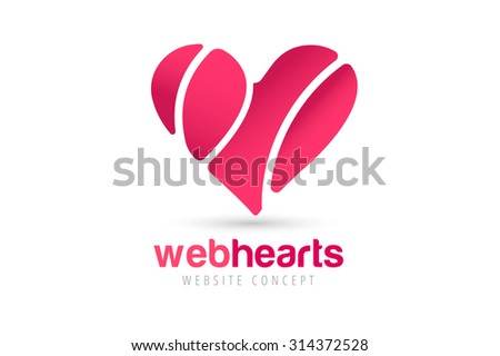 Heart icons vector logo. Heart logo, heart shape. Togetherness concept. Together logo. Heart logo. Heart icon. Love, health or doctor and relations symbol. Heart vector logo, heart together icons - stock vector
