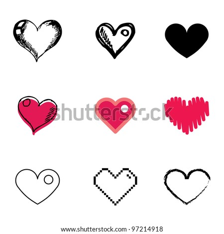 heart icons vector set - stock vector