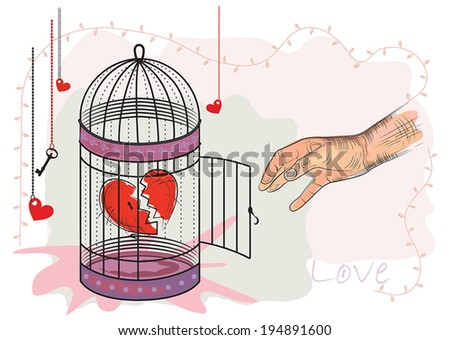 Heart in a cage. Illustration. - stock vector