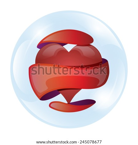 Heart in a glass bubble, vector