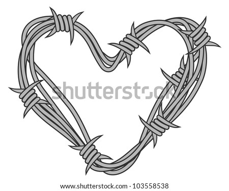 Heart in barbed wire for love concept design. Vector illustration - stock vector