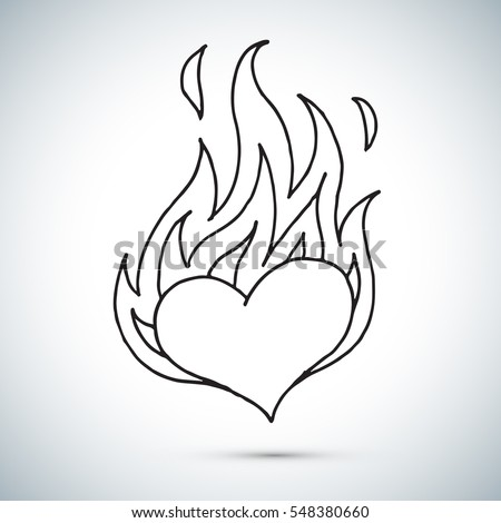 Burning Hearts Set Stock Vector 69616006 - Shutterstock