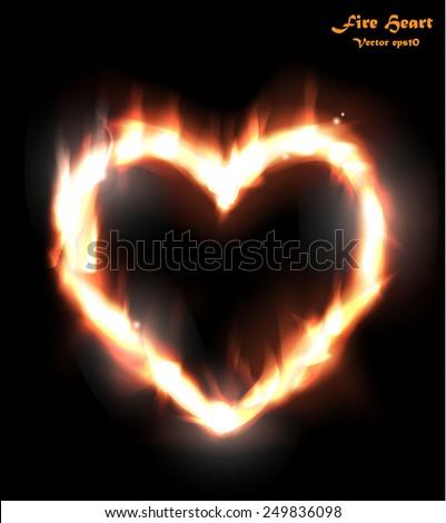Heart in Fire. Vector eps10. - stock vector