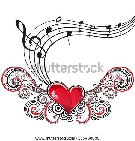 Heart in grunge style with musical notes and treble clef - stock vector