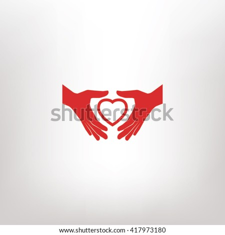 Heart in hand  icon. One of set web icons