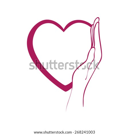 Heart Hand Symbol Care Vector Illustration Stock Vector 268241003