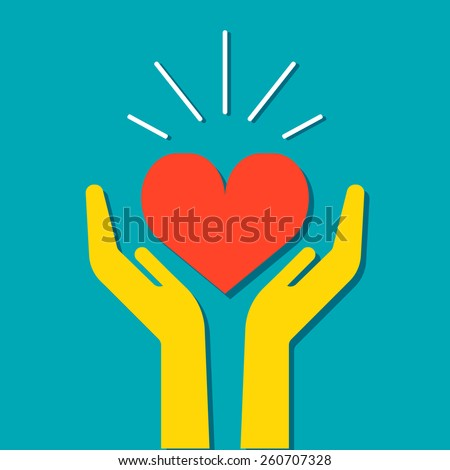 Heart in hands icon, vector  medical illustration. Flat design style. For web design and applications. - stock vector