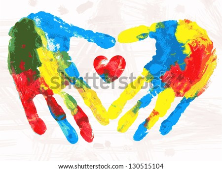 Heart in hands print, vector colorful grunge illustration - stock vector