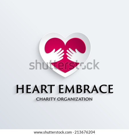 Heart in hands symbol, icon, logo template for Non profit Foundation - stock vector