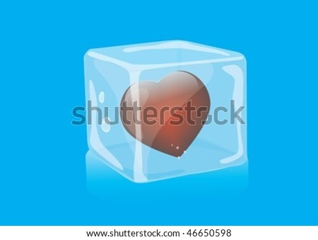 Heart in ice cubes as a gift - stock vector