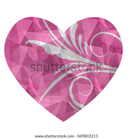 Heart in love polygonal low poly with abstract flower on isolated and retro style.