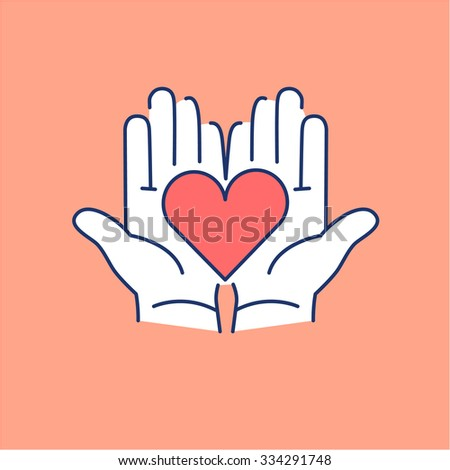 Heart in open hands red and white linear icon on orange background | flat design alternative healing illustration and infographic