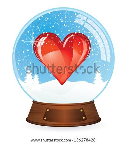 Heart in Snow globe - stock vector