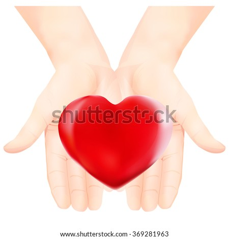 Heart in the loving hands. Vector illustration. Isolated on white